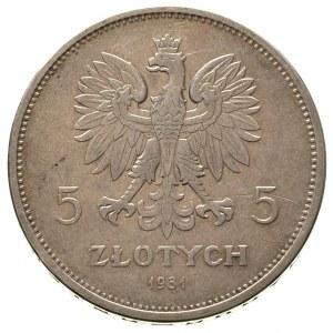 5 złotych 1931, Warszawa, Nike, Parchimowicz 114 d, rza...