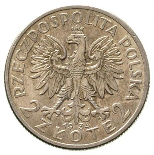2 złote 1934, Warszawa, Głowa Kobiety, Parchimowicz 110...