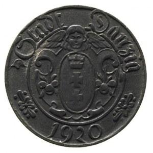 10 fenigów 1920, Gdańsk, na rewersie duża cyfra 10, Par...