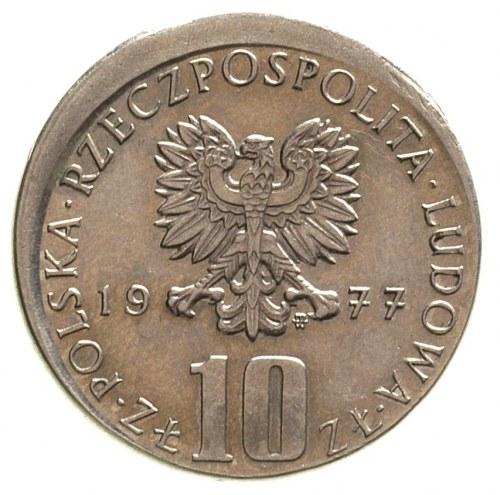 10 złotych 1977, Warszawa, Bolesław Prus, 7.73 g, Parch...