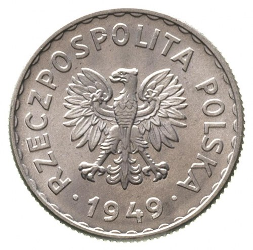 1 złoty 1949, Warszawa, Parchimowicz 212 b, aluminium, ...