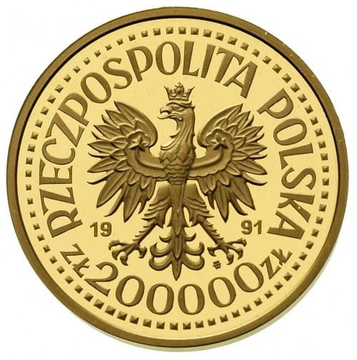 200.000 złotych 1991, Jan Paweł II, na rewersie wypukły...