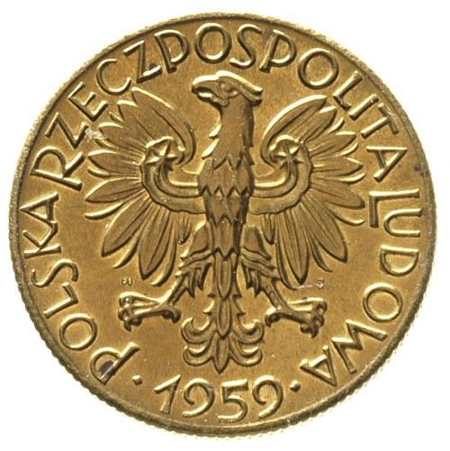 5 złotych 1959, na rewersie wypukły napis PRÓBA, Parchi...