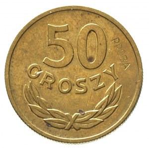 50 groszy 1957, na rewersie wklęsły napis PRÓBA, Parchi...