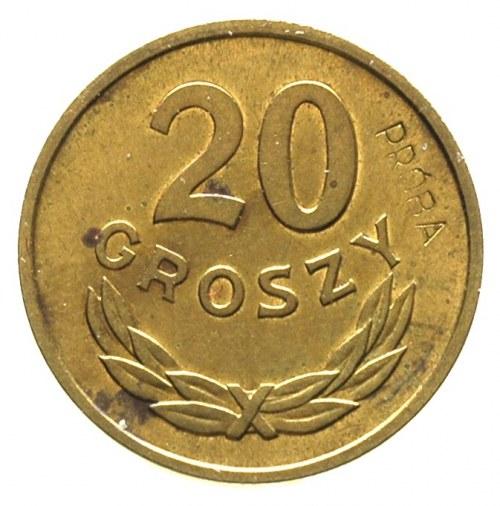 20 groszy 1957, na rewersie wklęsły napis PRÓBA, Parchi...
