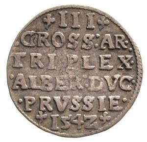 trojak 1542, Królewiec, Bahr. 1180, Neumann 43, patyna