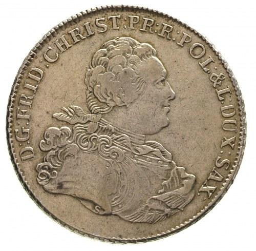 talar 1763, Lipsk, litera S na ramieniu króla, litery E...