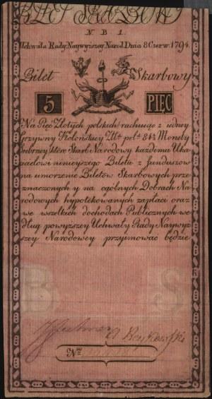 5 złotych 8.06.1794, seria N.B.1., Miłczak A1a, Lucow 3...