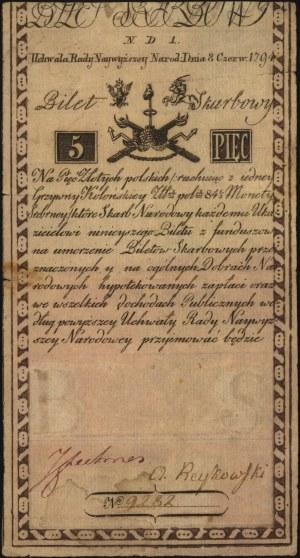 5 złotych 8.06.1794, seria N.D.1, papier koloru jasnożó...