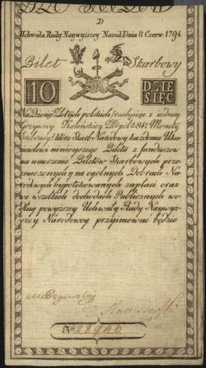 10 złotych 8.06.1794, seria D, Miłczak A2, Lucow 21 R3,...
