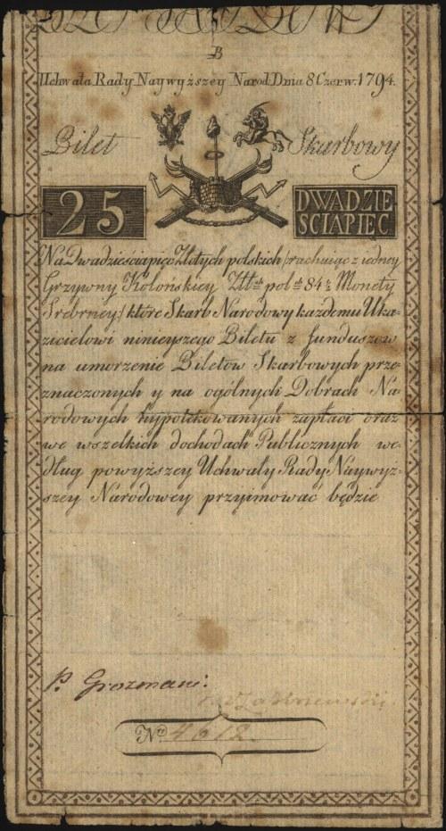 25 złotych 8.06.1794, seria B, Miłczak A3, Lucow 25 R2,...
