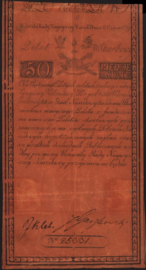50 złotych 8.06.1794, seria C, Miłczak A4, Lucow 31 R2