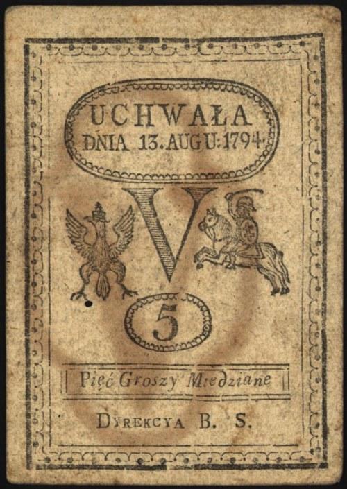 5 groszy miedziane 13.08.1794, Miłczak A8, Lucow 38 R1,...