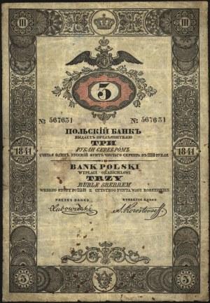 3 ruble srebrem 1841, podpis dyrektora banku- Korostovz...