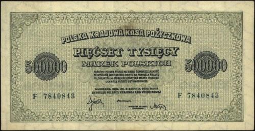 500.000 marek polskich 30.08.1923, seria F z numeracją...