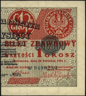 1 grosz 28.04.1924, lewa i prawa strona, Miłczak 42aL i...