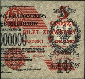 5 groszy 28.04.1924, część prawa, Miłczak 43b, Lucow 70...