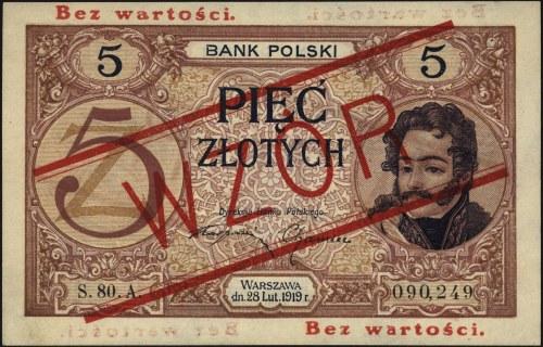 5 złotych 28.02.1919, seria S.80.A 090249, WZÓR bez per...