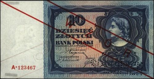10 złotych 2.01.1928, WZÓR, seria A*123467, w prawym do...