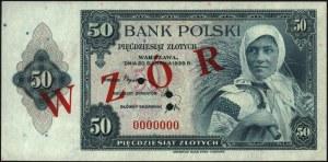 zestaw wzorów banknotów emigracyjnych: 20 i 50 złotych ...