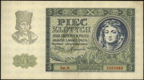 5 złotych 1.03.1940, seria A, Miłczak 93, pięknie zacho...