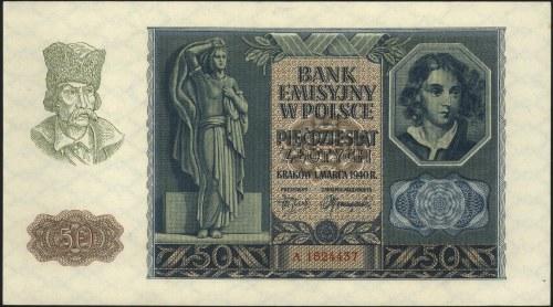 50 złotych 1.01.1940, seria A, Miłczak 96, bardzo ładni...