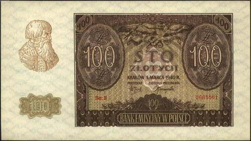 fałszerstwo 100 złotych 1.03.1940, seria B, Miłczak 97b...