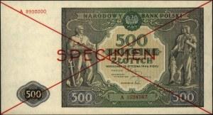 500 złotych 15.01.1946, SPECIMEN, seria A 1234567 / A 8...