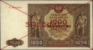 1.000 złotych 15.01.1946, SPECIMEN, seria A.1234567 / A...