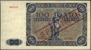 100 złotych 1.07.1948, SPECIMEN, seria AA 0000000, prób...