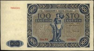 100 złotych 1.07.1948, seria AA 0000000, próba w kolorz...