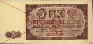 5 złotych 1.07.1948, SPECIMEN, seria AL 1234567, Miłcza...