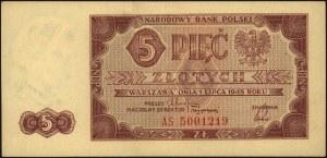 5 złotych 1.07.1948, seria AS, Miłczak 135b