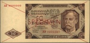 10 złotych 1.07.1948, SPECIMEN, seria AD 1234567 / AD 8...