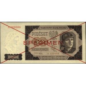 500 złotych 1.07.1948, SPECIMEN, seria A 123456 / A 789...