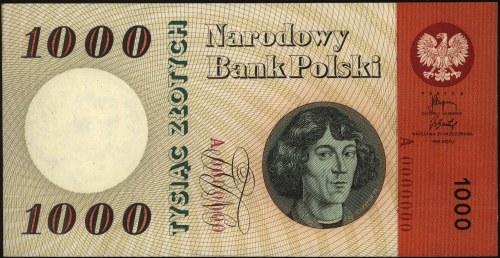 1.000 złotych 29.10.1965, seria A 0000000, bez nadruku ...