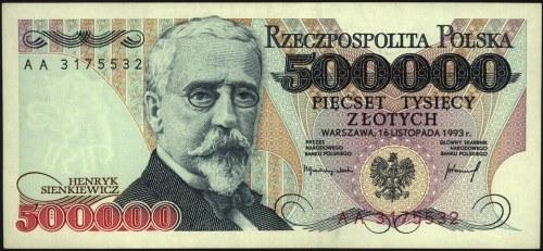 500.000 złotych, 16.11.1993, seria AA, Miłczak 193b, ba...