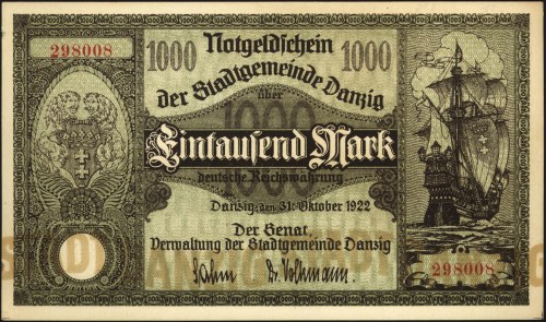1.000 marek 31.10.1922, Miłczak G3, lekkie uszkodzenia ...