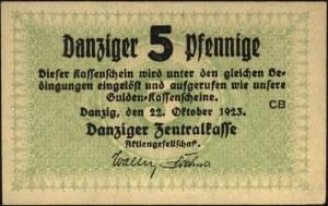 5 fenigów 22.10.1923, Miłczak G22, bardzo ładnie zachow...