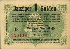 1 gulden 22.10.1923, seria D, bez nadruku na stronie od...