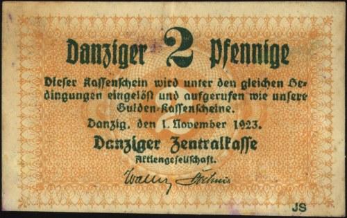 2 fenigi 1.11.1923, Miłczak G32, bardzo rzadkie