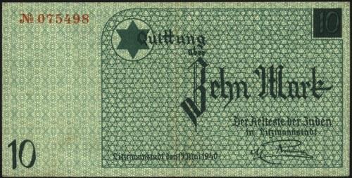 10 marek 15.05.1940, druk w kolorze niebieskim, ze znak...