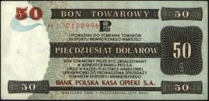 bon PKO SA na 50 dolarów 1.10.1979, seria HJ, Miłczak B...