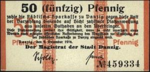 Gdańsk, 10 i 50 fenigów 9.12.1916, z suchym stemplem, P...