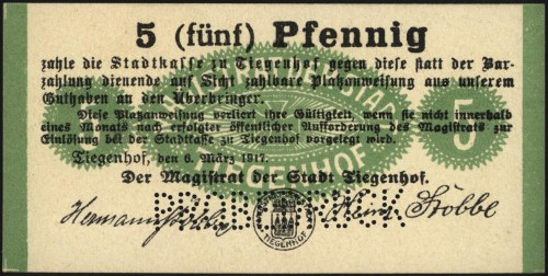 Nowy Dwór /Tiegenhof/, 5 fenigów 6.03.1917, perforowany...