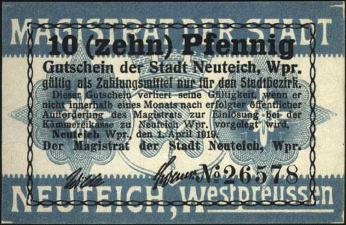 Nowy Staw /Neuteich/, 10 i 50 fenigów 1.04.1919 oraz 5,...