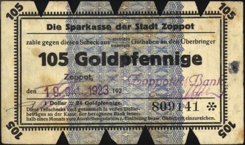 Gdańsk, 105 goldfenigów 19.10.1923, z błędem \1 dolar =...
