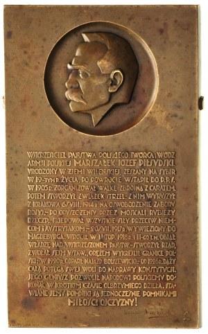 Józef Piłsudski, plakieta sygnowana J. Aumiller, 1931, ...