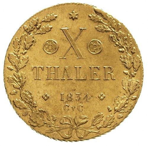 10 talarów 1834, złoto 13.26 g, Fr. 745, Welter 3079, b...