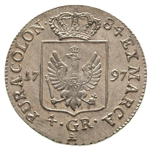 Fryderyk Wilhelm II 1786-1797, 4 grosze 1797/A, Berlin,...